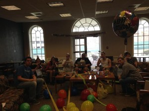 The lab team celebrates Dr. M's birthday!